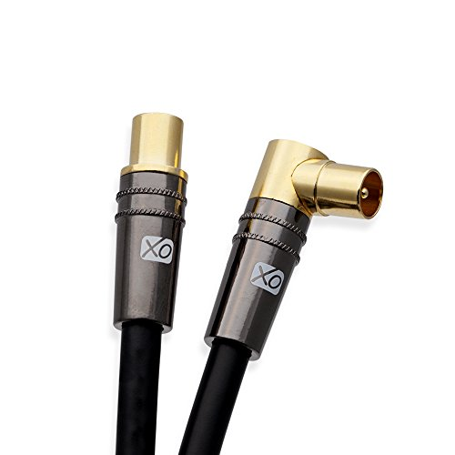 XO 1m Männlich auf Männlich abgeschirmtes TV/AV Antennen Koaxial Kabel mit 90 Grad rechtwinklig vergoldetem Metallstecker für UHF/RF TVs, DVD-Player, DVR, Kabel-Boxen und Satellit - Schwarz Dvr-kabel-boxen