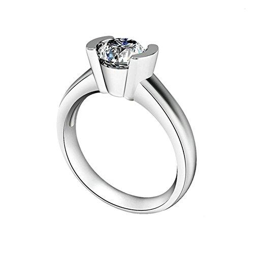 SonMo Ring 925 Silber Solitär Weiß Diamant Ringe für Damen Zirkonia Trauringe Hochzeit Ring Eheringe Ringe Frauen Größe 60 (19.1)