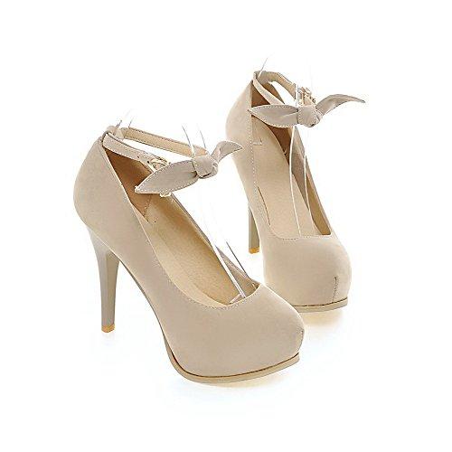 VogueZone009 Femme Couleur Unie Suédé Stylet Rond Boucle Chaussures Légeres Beige