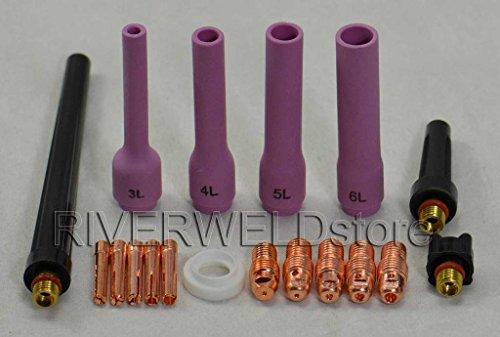 18pcs TIG Collet Body Long Alumina buse Retour Cap TIG torche de soudage DB SR WP 9 20 25