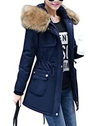 Yasong Women's Girl's Long Military Camo Hooded Quilted Lined Parka Jacket Coat Winter Overcoat