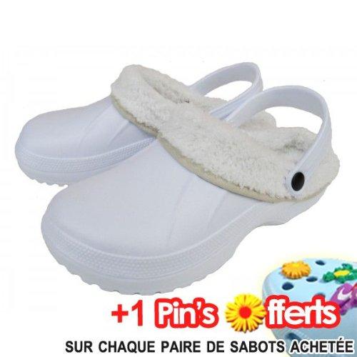 Sabots Craps, Fourrée Blanc Blanc