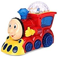 BabyBaba Bump and go Musical Engine Toy Train with 4D Light and Sound, Multi Color