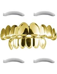 Mit 24K vergoldete 8 Zahn-Grillz für obere und untere Zahnreihe, Hip-Hop-Gebiss + 2 Extra-Streifen zum Formen