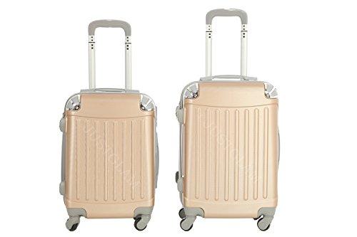 Trolley da cabina cm. 50 valigia rigida 4 ruote in abs policarbonato antigraffio e impermeabile compatibile voli lowcost come Easyjet Rayanair art 2022 / piccola champagne