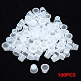 100 PCS Ink Cup Plastic Pigment Caps Holder make-up wenkbrauw Lip Tattoo Container Ring Supplies