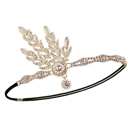 Babeyond® Flapper Great Gatsby Inspiriert Art Deco 1920 Blattmedaillon Perle Kopfschmuck Kopfband runden Goldene - 2