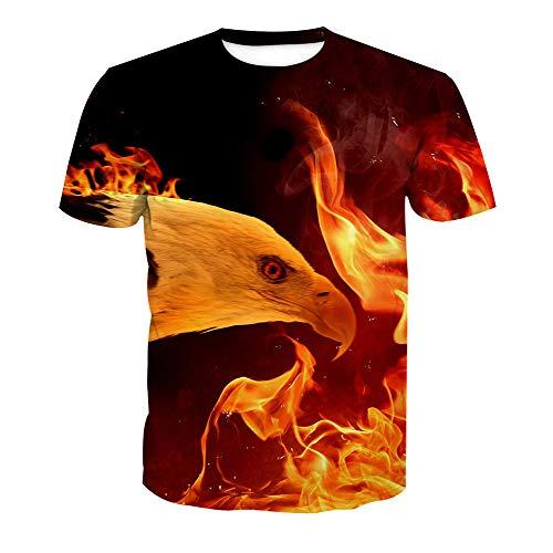 Feuer-jugend-t-shirt (Männer Kurzarm T-Shirt Sommerclub 3D Bad Feuer Adler Druck Unisex Straße Teenager Casual halbe Hülse Tees Jugend Paar Urlaub Strand Hip Hop Sport, XL, A)