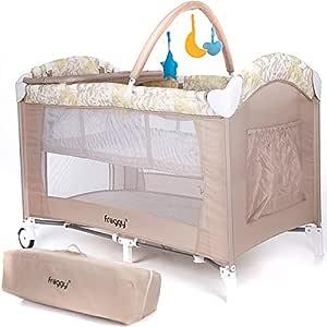 Froggy® Kinderreisebett Babybett Kombi-Reisebett Laufstall inkl. Schlafunterlage, Neugeborenen-Einhang, Wickelauflage, Spielbogen, Transporttasche, Rollen höhenverstellbar und faltbar Beige