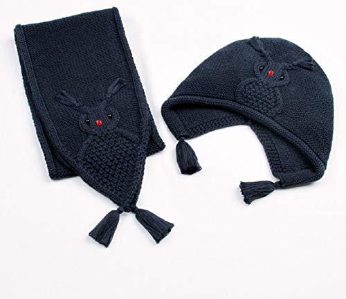 en Cartoon Strick Hut Schal Kinder Wilden Schal warmen Anzug,Navy ()