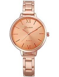 Sannysis® Mujeres Pequeño Steel Band cuarzo analógico reloj de pulsera Rosa de Oro