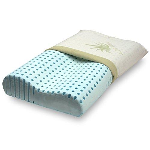 Orthocervicale Cuscino 100% Memory Foam Doppia Onda per cervicale Tessuto aloe