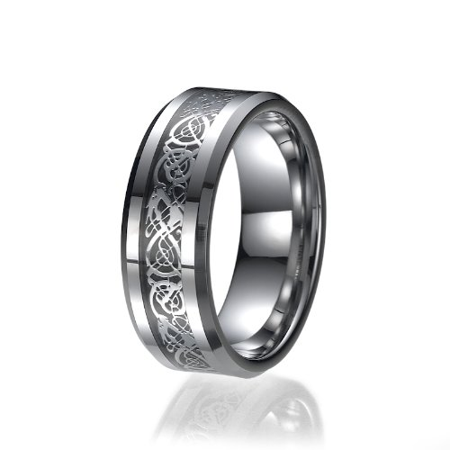 Black Diamond Ring Herren Wedding (8MM Comfort Fit Black Inlay Tungsten Mens Wedding Ring)