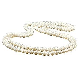 3x lange Zuchtperlen Halsketten, oval, barock 7×8 mm weiß/9629g