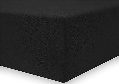 DecoKing 18385 80x200-90x200 cm Spannbettlaken schwarz 100% Baumwolle Jersey Boxspringbett Spannbetttuch Bettlaken Betttuch Black Nephrite Collection - 4