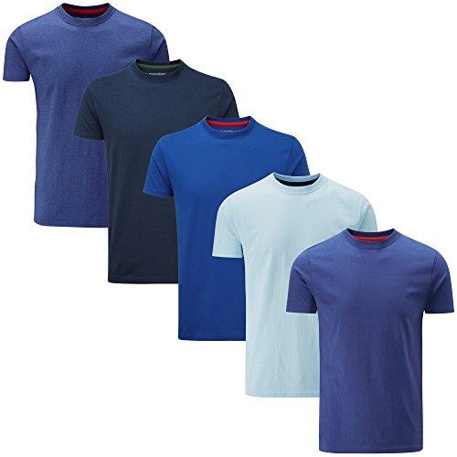 Charles Wilson 5er Packung Einfarbige T-Shirts mit Rundhalsausschnitt (XX-Large, Mixed Blue) (T-shirt Blue Xx-large)