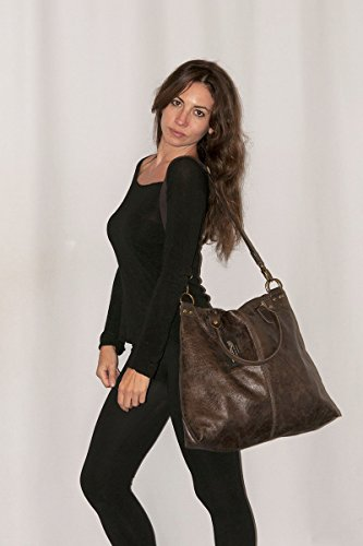 BORDERLINE - 100% Made in Italy - Damen Leder Tasche - Vintage Style - LISA - Schwarz