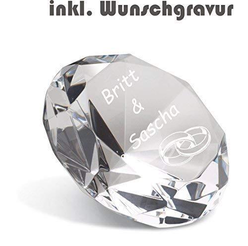 Glas Kristall Diamant inkl. Gravur Deko Briefbeschwerer graviert Geschenk neu