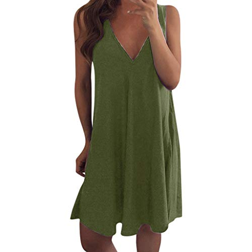 UFACE Women Summer Casual T Shirt Dresses Beach Cover up Plain Pleated Tank Dress