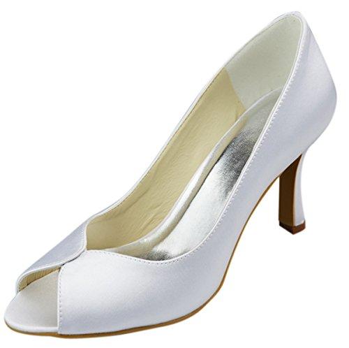 p Toes , Beige - Elfenbein - Größe: 35.5 (Girls Elfenbein Satin Schuhe)