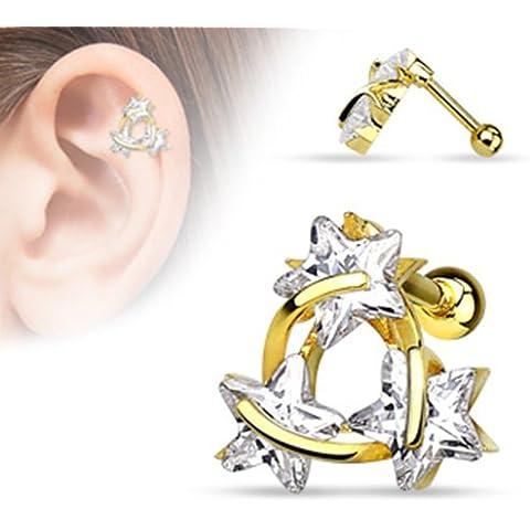 Cartilagine trago Helix BlackAmazement Barbell orecchini stella Triangle 14placcato oro acciaio inox 316L zirconi CZ oro chiara Donna