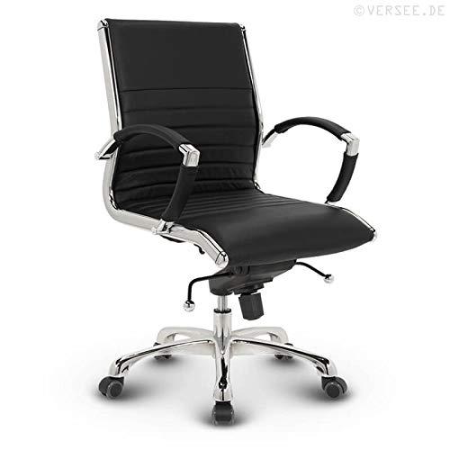VERSEE Design Bürostuhl Montreal -- Echt-Leder -- schwarz -- Konferenzstuhl, Meetingstuhl, Drehstuhl, Bürodrehstuhl, Schreibtischstuhl, Ergonomisch, niedrige Rückenlehne, mit Armlehnen, auf Rollen, mit Polsterung, Höhenverstellbar, Wippfunktion, Designklassiker, hochwertige Verarbeitung, massives Metall-gestell, Chrom Büro Sessel, Stuhl, 150 kg belastbarkeit