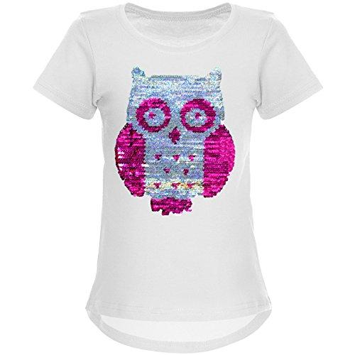 BEZLIT Mädchen Wende-Pailletten T-Shirt Tollen Eulen Motiv 22031 Weiß Größe 152