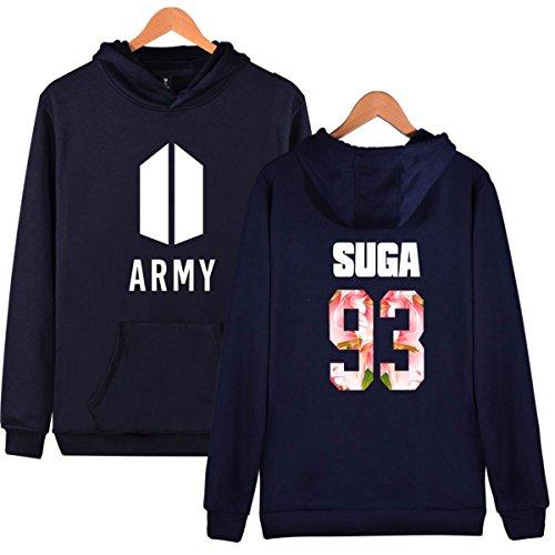 SIMYJOY Lovers KPOP Fans Army Felpa con cappuccio BTS Pullover Hip Hop Felpa per Uomo Donna Adolescente reale Suga 93