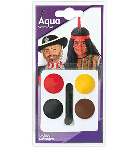 AQUA Schminkset Schminkfarben auf Wasserbasis Gesichtsfarbe 4 Tiegel Aqua Schminke inkl. Applikator gute Deckkraft Gesichtsschminke Farbenfroh (Indianer/Cowboy) (Mardi Gras Masken Für Jungs)