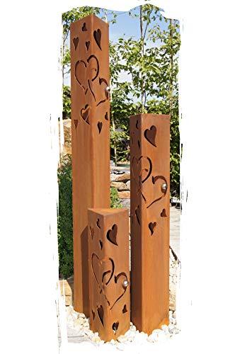 JH-Metalldesign Säulenset Herz Säule Set Edelrost Rost Romantik Gartendeko Garten Edelstahl -...