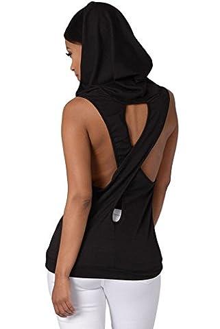 Neue Damen Schwarz mit Kapuze Cross Back T-Shirt Club tragen Tops Casual Wear Kleidung Größe M UK 10–12