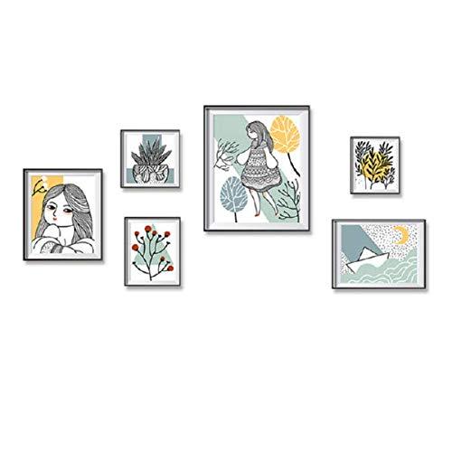 XCGZ Wandsticker Mädchen Imitation Fotorahmen Malerei Post einfache Raum Verschönerung dekorative Wandaufkleber DIY Aufkleber