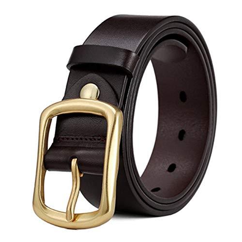 AMJFB Lässiger minimalistischer Ledergürtel für Herren Black Ledergürtel in Schwarz mit Anti-Kratz-Dornschließe, an die Anzughose angepasste Gürtel Jeans,B-115CM -