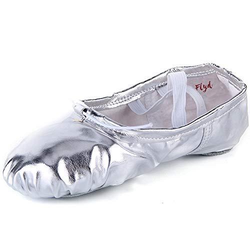 Ballettschläppchen Mädchen Ballettschuhe Damen Gymnastikschuhe Kinder Ballerinas Tanzschuhe Ballett Schläppchen, Silber, Größe 28