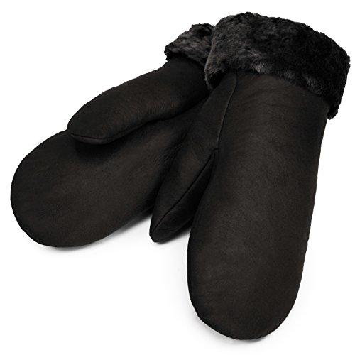 Lammfell Fäustlinge von CHRIST - warme, Lange Unisex Fausthandschuhe aus echtem Fell, Winter-Handschuhe für Damen und Herren in schwarz, Größe 8 -