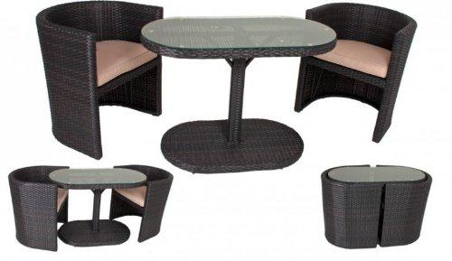 Garten Tischgruppe - Tisch + 2 Stühle + Auflagen, Poly-Rattan coffee