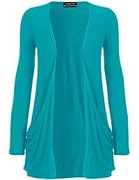 WearAll Neu Damen Langarm Freund Boyfriend style Strickjacke Cardigan Top - 19 Farben - Größe 36-50