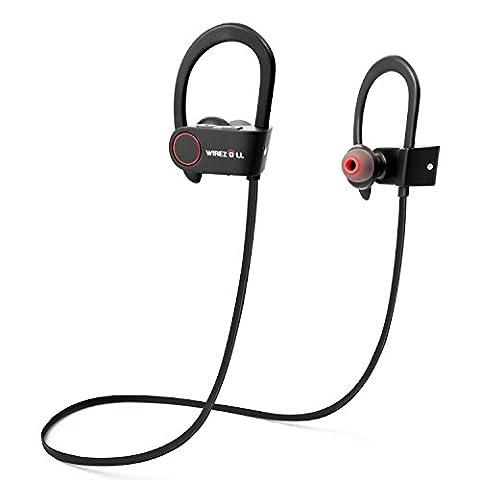 Écouteurs Bluetooth, Wirezoll IPx7 Imperméable Sport Oreillettes Sans Fil Casque avec Microphone - Noir