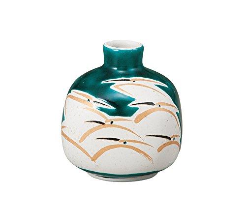Japonés tradicional Kutani-yaki cerámica jarrón nº 3un florero verde con Golden Heron K4–1254