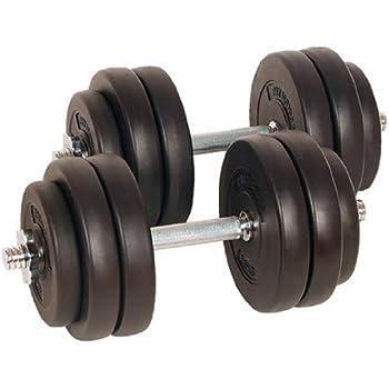 Physionics® Juego de 2 Mancuernas de Fitness de 30 kg (2 x 15 kg) Pesas Musculación Discos y Barras