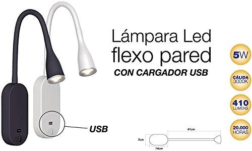 Lámpara LED Flexo de Pared con USB Blanco