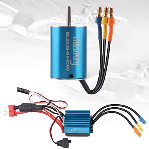 Crazepony-UK BL2838 4500KV Sensorless Brushless Motor and 35A ESC Electric Speed Controller Motor ESC Combo for 1:16 1:18 RC Car Blue -