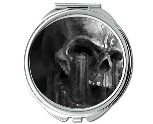 Yanteng Spiegel, Schminkspiegel, Kunstwerk dunkelschwarz und weiß, Taschenspiegel, 1 X 57X Vergrößerung