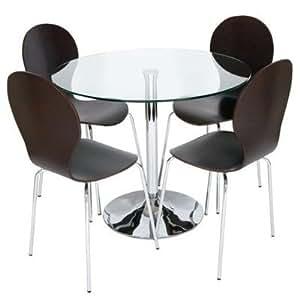 levv klar holz esszimmer tisch mit vier st hlen mit glas braun k che haushalt. Black Bedroom Furniture Sets. Home Design Ideas