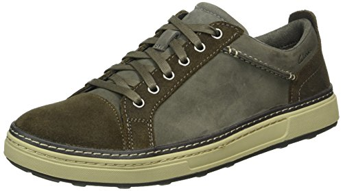 Clarks Lorsen Edge, Sneakers Uomo, Grigio (Grey Combi Leather), 42 EU