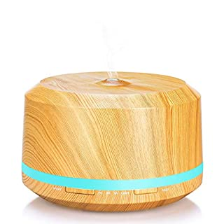 450ml Aromatherapy Essential Oils Diffuser Ultrasonic Aroma Humidifier Portable Cool Mist Air Purifier with Function Waterless Auto Shut-off, 4 Time Mode, 8 Colours LED, BPA free & Non-toxic - Light Wood Grain - Mogomiten