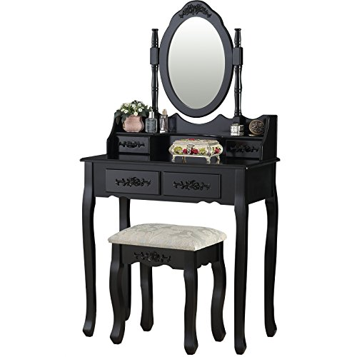 mecor Black Dressing Table Vanity Makeup Desk w/ 4 Drawers, Mirror and Stool Furniture