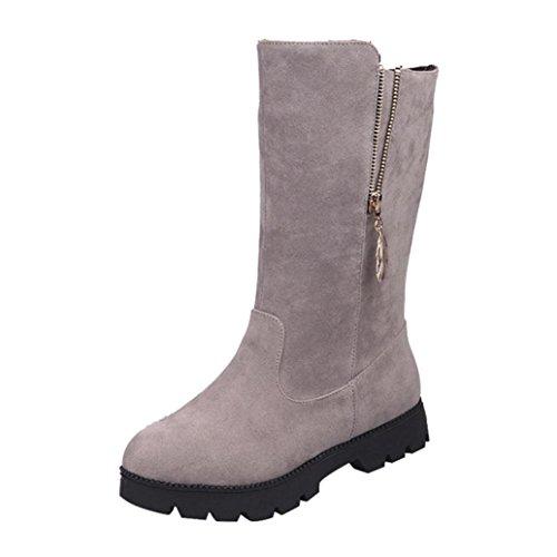 Stiefel Damen Winter Btruely Herbst Schuhe Mode Mädchen Martin Schuhe Frauen Weiche Imitat Warme Ritterstiefel Flach Stiefel (Grau, 39) (Boot Flache Leder Knie)
