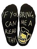 """LOTONJT Witzige Socken mit Spruch """"If You Can Read This, Bring Me A Beer."""" 1 Paar große Unisex Baumwollsocken Lustige Weihnachten Geschenk für Männer und Frauen (Beer)"""