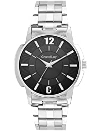 GRANDLAY MG-3064 BLACK DIAL WITH METAL STRAP WATCH FOR MENZ (Black)